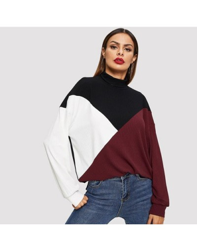 Multicolor Mock-Neck Colorblock Tee 2019 Spring Weekend Casual High Neck T-shirt Modern Lady Streetwear Clothing - Multi - 4...