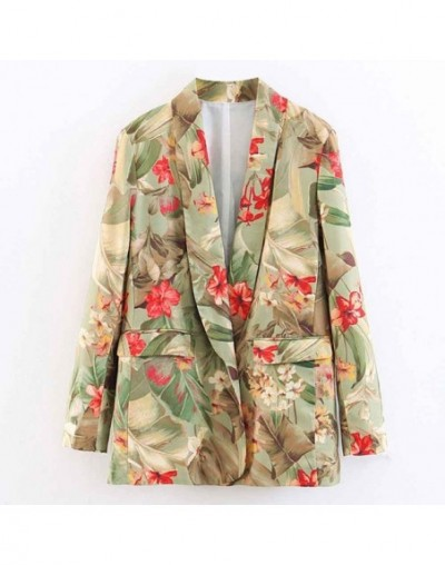 Vintage Boyfriend Ethnic Floral Leaf Pattern Notched Collar Blazer Suit 2019 Casual Jacket Coat Outerwear New Chic Tops - Bl...