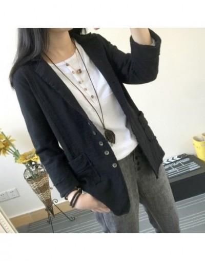 2018 New Spring Women Blazer Plus Size Women Jacket Cotton And Linen Coat Turn Down Collar Casual Blazer Feminino HB642 - Bl...