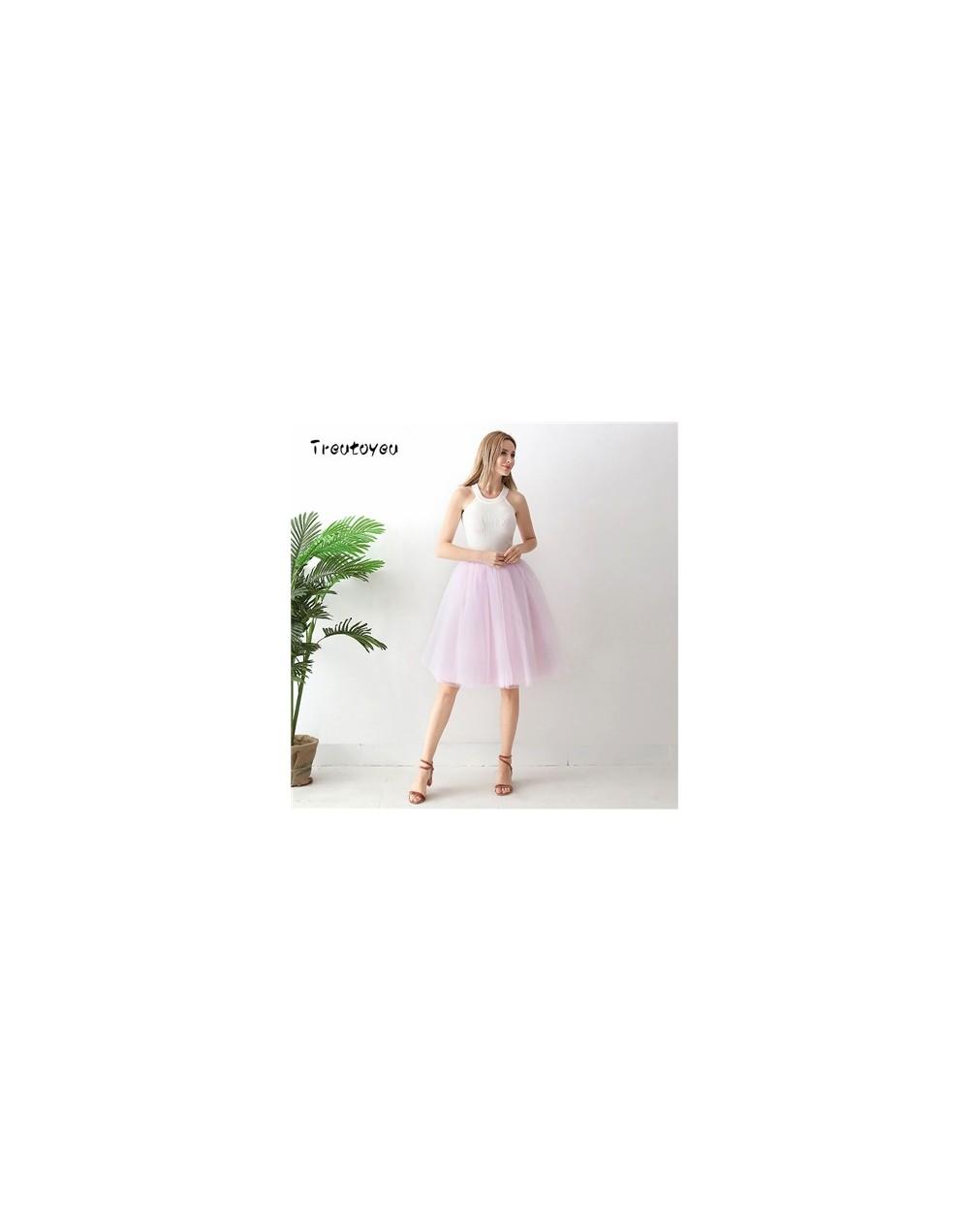 5 Layers 65cm Black Pleated skirt Sexy Midi Tulle skirt High Waist Full Lining Adult Tutu Korean Style Women - Baby Pink - 4...