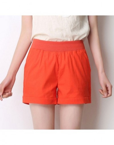 2018 European and American BF summer wind female candy color high waist linen shorts women loose elastic waist shorts plus s...