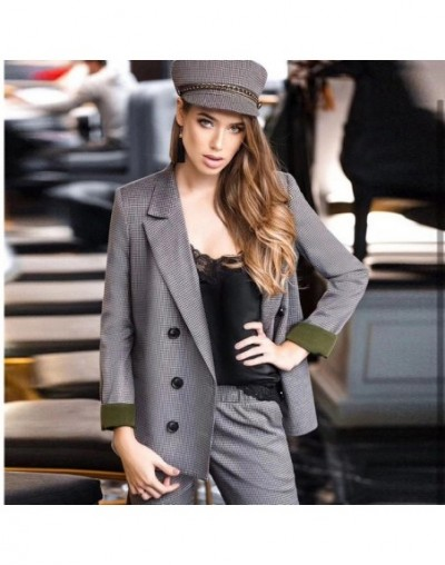 Vintage Plaid Women Two Piece Sets Female Retro Pants Suits Blazer Coat Feminino Notched Casual Blazers Streetwear Outerwear...