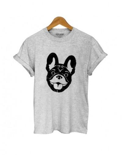 Cotton french bulldog print t shirt women casual dog print t-shirt for girls summer women tshirt tops - DOZ0101-GREY - 45397...