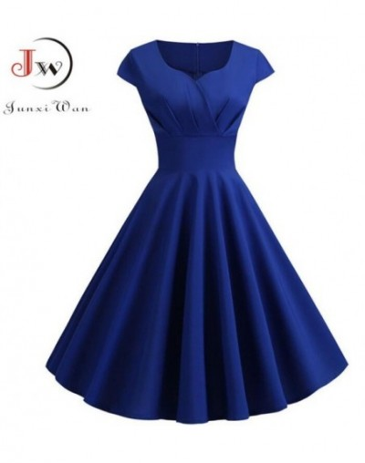 Summer Dress Women 2019 Short Sleeve Hepburn 50s 60s Vintage Pin Up Rockabilly Dress Robe Plus Size Elegant Evening Party Dr...