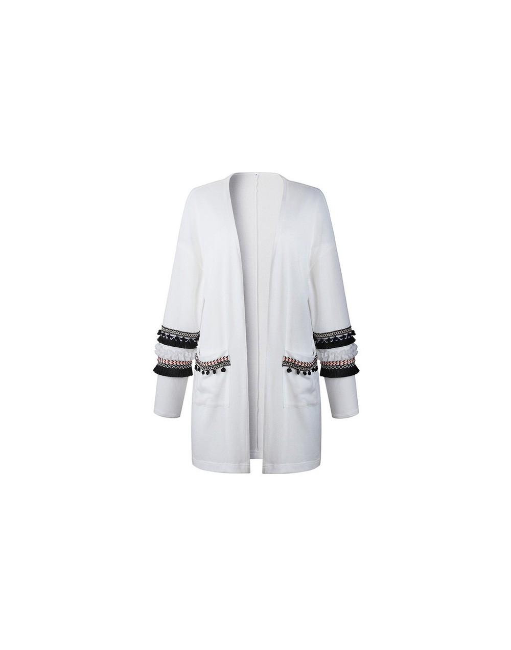 Long Sleeve Cardigan Ladies Winter Knitted Boho Female Sweater Cardigan Floral Outerwear Tassel Spanish Elegant Casual Long ...