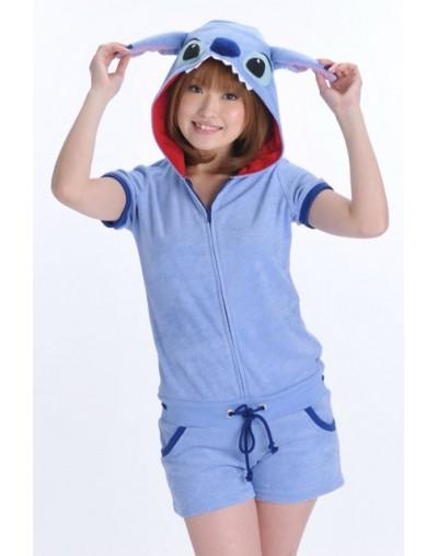 Designer Kawaii Anime Minnie Women Girls Summer Jumpsuit Onesie with Ears Hood Female Short Sleeve Cosplay Pajamas Top + Sho...
