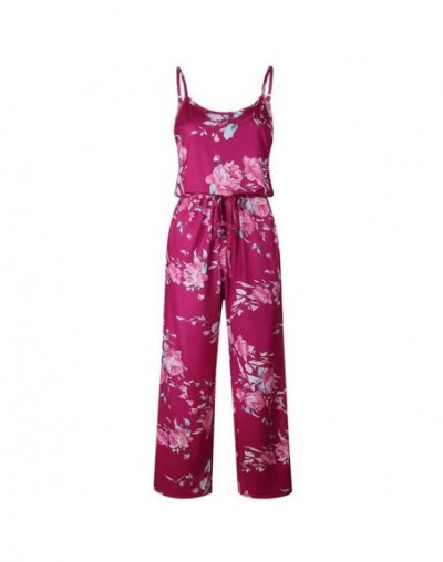 Jumpsuit women Summer Hot New Sexy Fashion Trend Sling Printing playsuit Loose Siamese Jumpsuits Plus Size body mujer - wine...