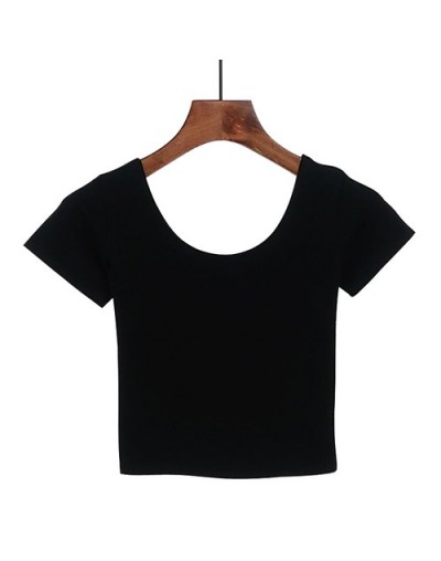 2019 Summer Women T Shirt Short Sleeve O-neck Casual Cotton Black White Red Yellow Tops Tees Female Ladies Crop Top - black ...