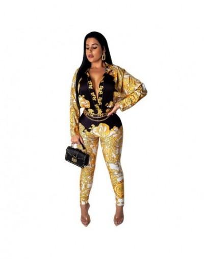 Women Jumpsuit Romper Long Sleeve Sexy Vintage Chain Print Playsuit Overalls Long Trosers Elegant Office Ladies Casual Slim ...