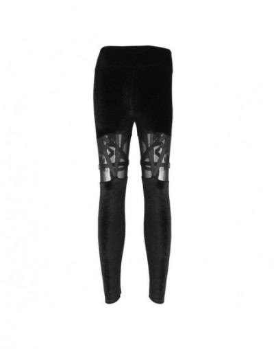 Black Punk Gothic High Waist Women Pants Sexy Pentagram Hollow Out Mesh Sexy Pencil Pants Autumn Harajuku Lady Legging - Bla...