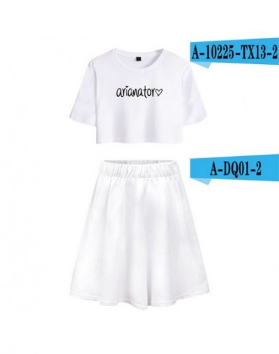 2018 NEW Ariana Grande Short Skirt Suit Short Sleeve T-shirt and Short Skirt Two Piece Girl Casual Kpop Style Sets - YELLOW ...