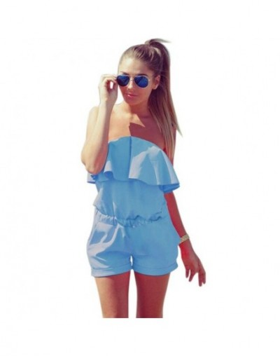 ChuanKe 2018 Women off shoulder Jumpsuit ruffles Bodysuit casual Womens romper plus size candy color Summer shorts - Sky Blu...