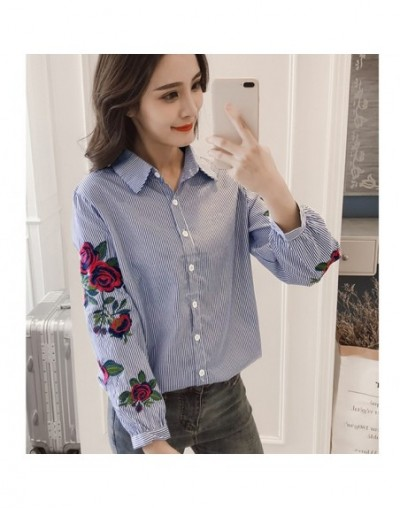Long Sleeve Rose Floral Embroidery White Stripe Blouse Women Casual Tops kimono Office Lady Blusas 2019 Spring Plus Size 4XL...