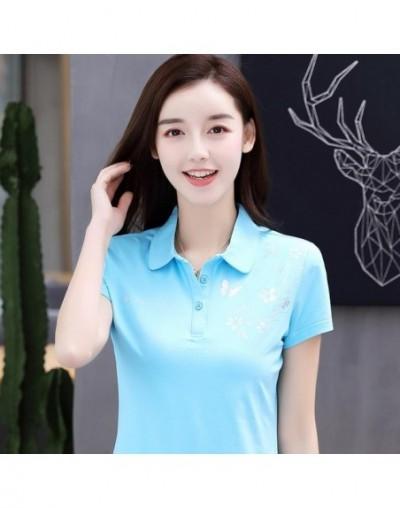 women polo shirts summer M-4XL female tops tees solid printing clothing short sleeve slim fashion ladies clothes ly69 - as p...