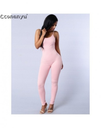 Long Jumpsuit for Women 2019 Summer Round Neck Sleeveless Jumpsuits Sexy Backless Sportswear Slim Solid Color bodycon Jumpsu...