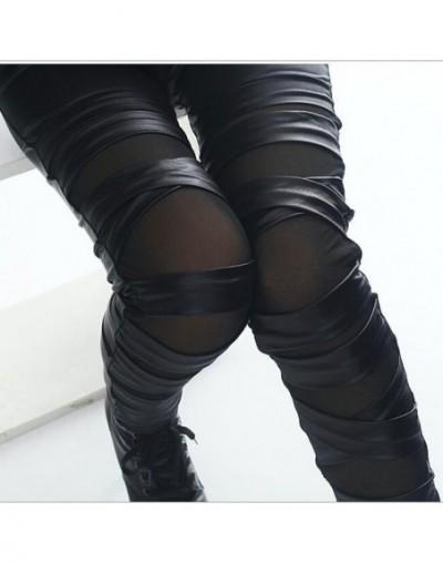 2019 brand new fashion lady leather leggings black white bandage cross women leggings patchwork mesh and fake leather leggin...
