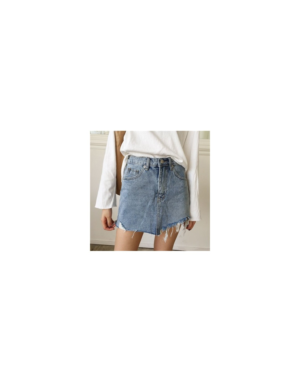 Summer Jeans Skirt Women Irregular Brushed Hem Denim High Waist Skirts Female Vintage Casual Washed Pencil Mini Skirt - Blue...
