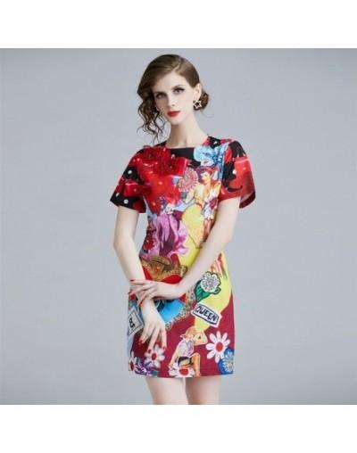 2019 Summer Mini Dress Flower Appliques Print Party Dress Women Elegant Short Sleeve O Neck Pencil Runway Dress Sundress - p...