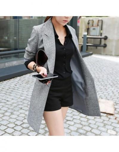 2019 Spring Autumn New Style Thin Long Women Blazer Gray - Gray - 4T3998091383
