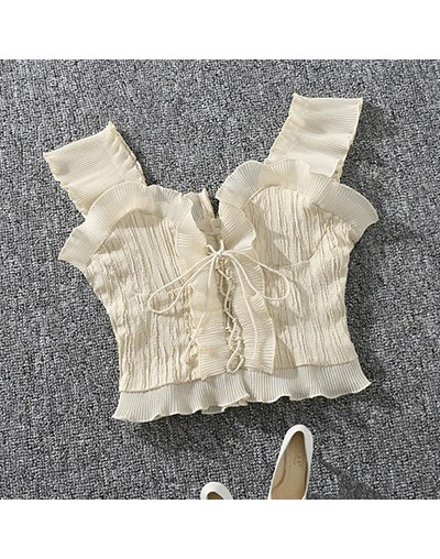 2018 New Summer Autumn Bustier White Black Tank Top Female Sexy Bandage Sleeveless Crop Top Zipper Woman Clothes - apricot -...