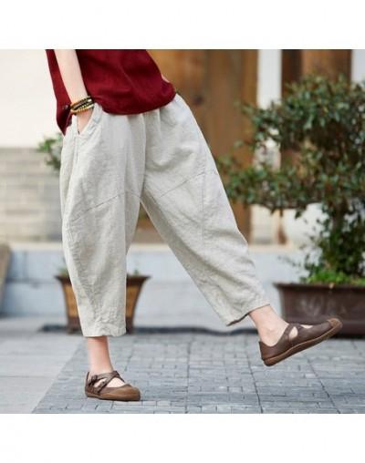 2019 Summer Autumn Loose Vintage Pants New Women Solid Color Elastic Waist Pockets Ramie Ankle-Length Pants - Raw hemp - 453...