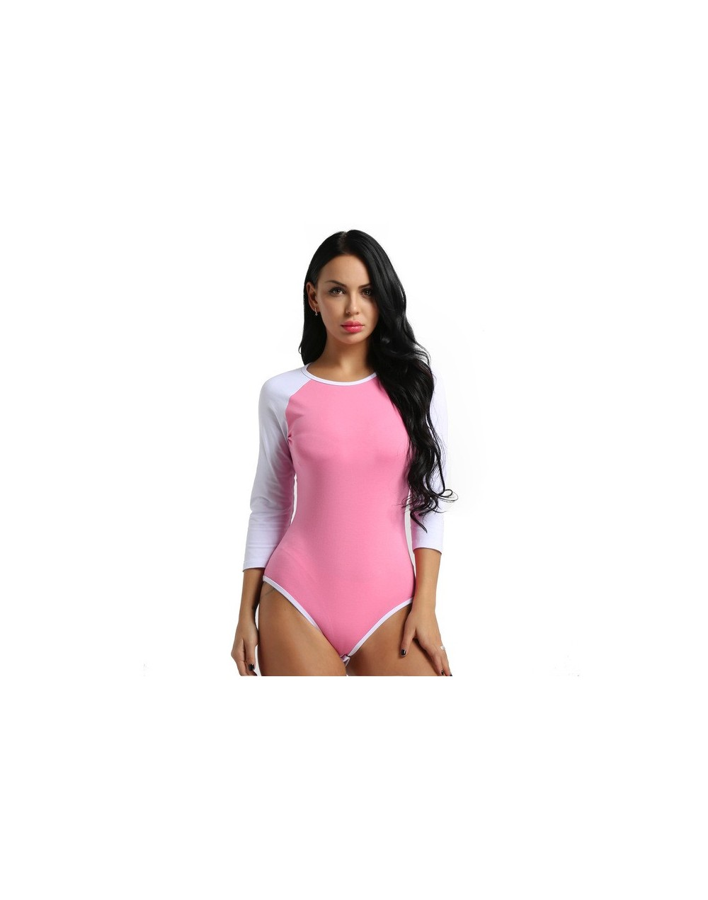 Adult Women Long Sleeves Press Botton Crotch Cotton One Piece Romper Jumpsuit Bodysuit Cosplay Costumes Bodystocking for Fem...