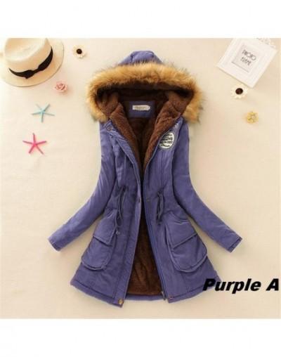 Parkas Female Women Winter Coat Thickening Cotton Winter Jacket Womens Outwear Parkas for Women Winter Y14 - Purple A - 4R30...
