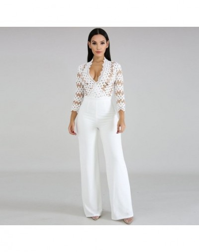 Long Sleeve Sexy Women Culotte Jumpsuit One Piece Elegant Party Evening Cocktail Wedding Wide Leg Romper Lace Hollow Out Whi...