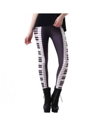 Womens Piano Key Digital 3D Print Leggings Pants Maiden Spandex Shiny Stretchy Leggings Costume Skinny Footless 3XL - Piano ...