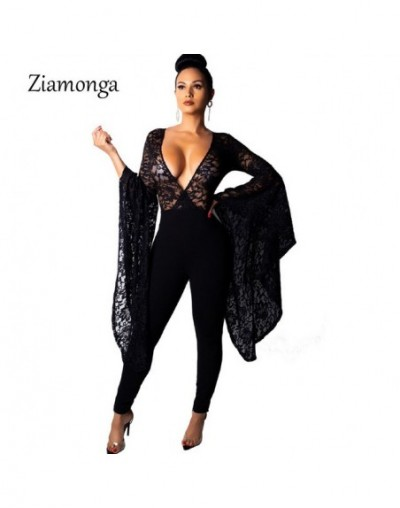 Women Jumpsuits Long Flare Sleeve Sexy See Through Red Slim High Waist Hollow Lace Female Fashion Elegant Party Rompers - Bl...