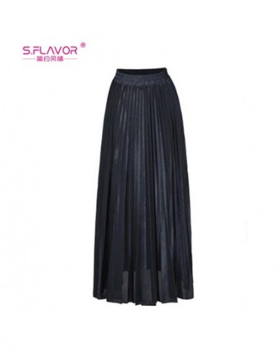 2019 Autumn Winter Pleated Ankle-length Skirt Women Long Vintage High Waist Metallic Skirt Female Fashion Solid Skirt - blac...
