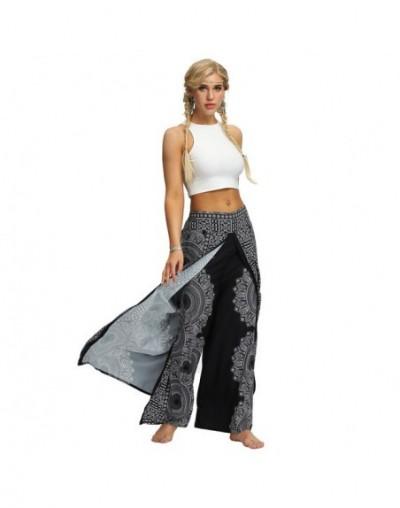 Black round mandala Side open PALAZZO PANTs Thai Bohemia wide leg Pants Beach Fitness gym Pants women streetwear - SEA011 - ...