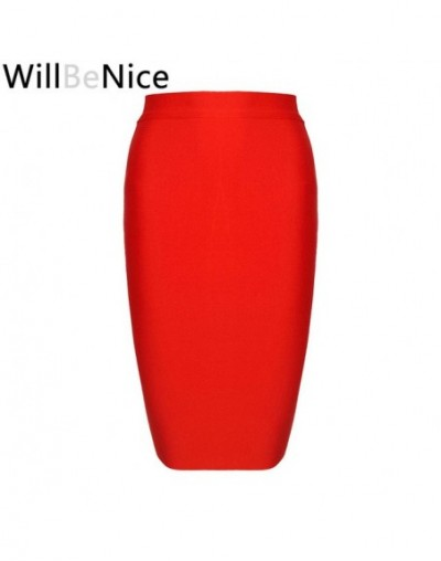 Black 2018 New Arrival Fashion Women Simple Knee Length Bandage Pencil Skirt - Red - 4P3065675786-6