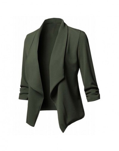 Solid color women blazer Open Front Three Quarter Notched women blazers and jackets Casual plus size S-5XL Jacket Coat 10 co...