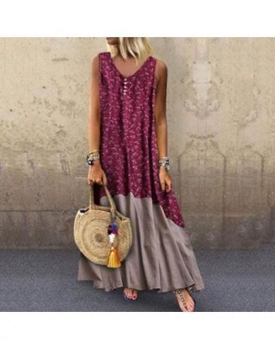 Summer Floral Dress Women Fashion Print Sweet Elegant Boho Travel Casual Beach Robe Loose Sleeveless Ladies Blue Midi Dresse...