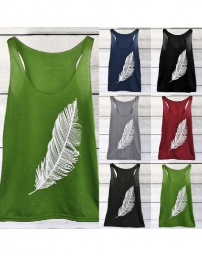 2019 Summer Sexy Feather Printed Tshirt Beach Sleeveless Holiday Clothing Women Female Casual Vests Plus Size S-5XL - Green ...