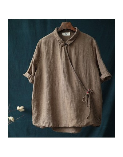 New Style Casual Shirts Art Retro Solid turn-down Collar Women Blouse 2019 Summer Short Sleeve Linen Female Blouse - Brown -...
