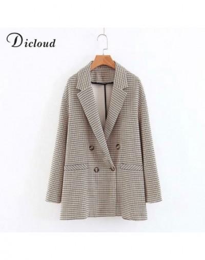 elegant plaid blazer dress winter autumn women long sleeve oversized jacket office lady wrap bodycon casual streetwear - as ...