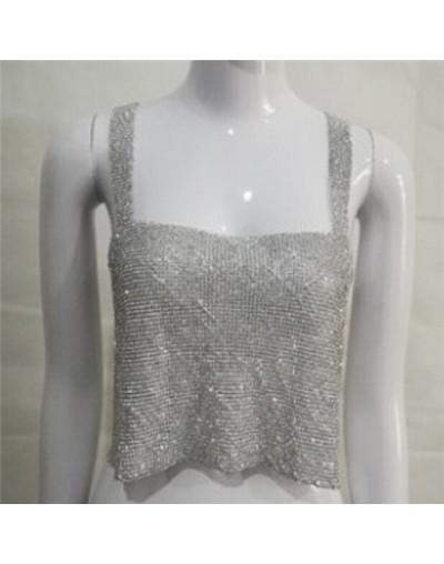 Nightclub Women Ladies Fashion Tanks Camis Bling Sexy Sparkly Metal Crystal Rhinestone Metal Chainmail Halter Draped Crop To...