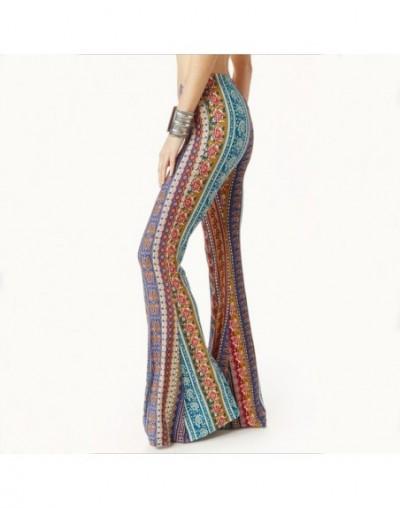 2019 Spring Autumn Bell Bottom Pants Women Streetwear Flare Pants Beach Trousers Ladies Fashion Elastic Print Slim Pants - R...