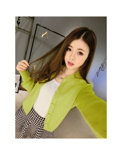 Hot Women Selling Cashmere Wool Blend Sweater knit cardigan Sweater coat Autumn And Winter Short Female jacket - Green and y...