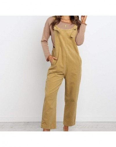 Womens Sleeveless Jumpsuit Ladies Slim Fit Playsuit Trousers Overalls Women Spaghetti Strap Playsuit Corduroy Solid Dungaree...