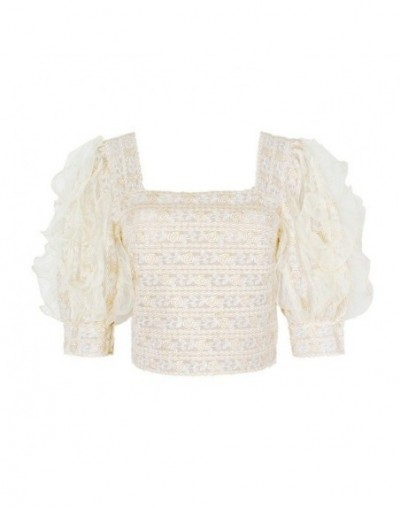 Vintage Solid Embroidery Patchwork Women Blouse Square Collar Puff Sleeve Perspective Short Shirt Female 2019 New - apricot ...