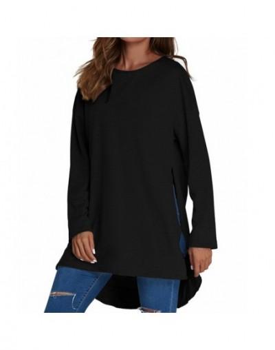 2019 Autumn Women Hoodies Sweatshirts Pullovers Long Sleeve Casual Loose O Neck Asymmetrical Split Hem Solid Blusas Tops - B...
