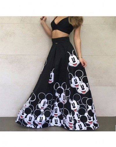 Fashion Mickey Maxi Long Skirt Women 2019 Striped Long Elastic High Waist Kawaii Female Elegant Pleated Printed cartoon Skir...