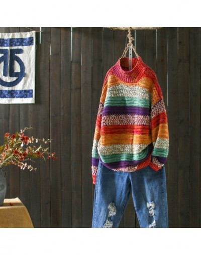 Fashion Mixed Color Rainbow Pullover Semi-high Collar Loose Knitwear Outerwear Autumn Winter Retro Womens Sweaters Femme Pul...