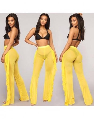 New Sexy Ruffle Women Beach Mesh Pants Sheer Wide Leg Pants Transparent See through Sea Holiday Cover Up Bikini Trouser Pant...