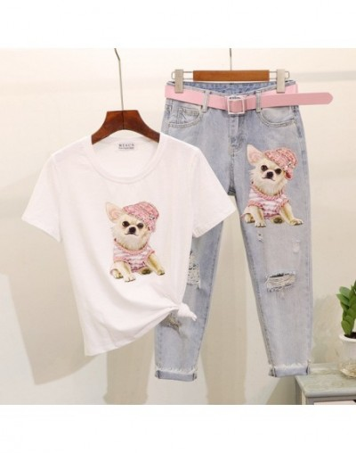 Cute Sequined Dog Printed Female Tshirt Broke Holes Stylish Pencil Jeans Summer Clothes for Women Two Piece Outfits - white ...