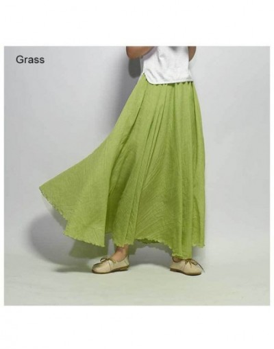 Japanese Style Solid High Waist Skirt For Women Ladies Maxi Skirts Casual Elastic Waist 2 Layers Red Linen Long Skirts saias...