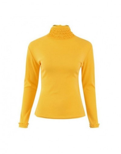 Women Bodycon Basic Pullovers Long Sleeve Turtleneck Sweater Female Skinny Winter Sweater - Yellow - 4P3072276330-2
